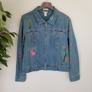 Christopher & Bank Embroidered Zip Up Jean Jacket